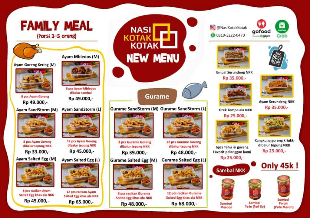 menu baru family meal nasi kotak kotak